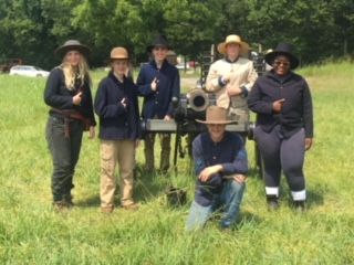 The C4 crew and their leader learned firsthand how to carry out an artillery demonstration, complete with wool uniforms in 90 degree heat. See the cannon go  BOOM
