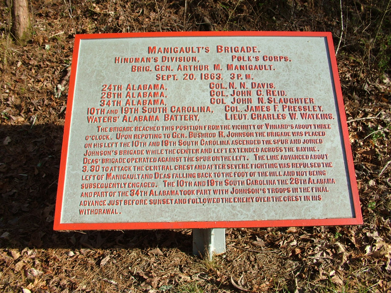 Today, a historical marker still stands in honor of Manigault's Brigade at the Chickamauga Battlefield. Unfortunately, there is no standing tablet to honor the brigade who fought miles away on the Missionary Ridge Battlefield just a few short months later. (Photo credit: Chickamauga and Chattanooga National Military Park)