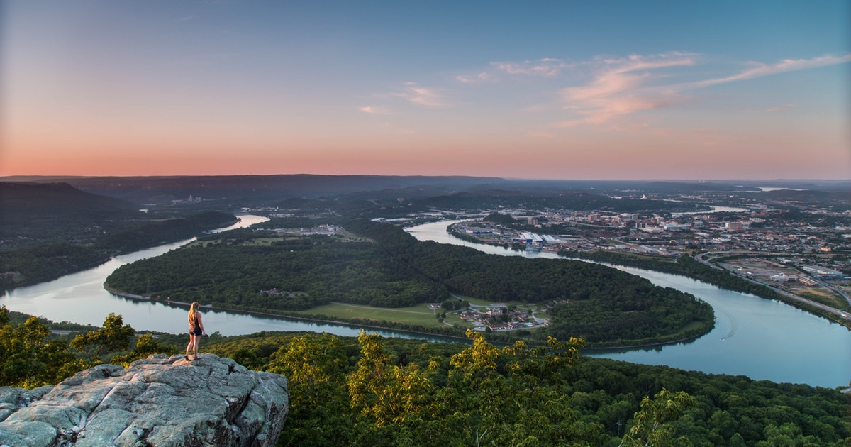 The view of the Tennessee River Valley and Moccasin Bend National Archaeological District from Point Park on Lookout Mountain.