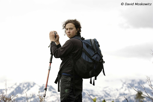 Rosa Levin taking a photograph,North Cascades, Washington