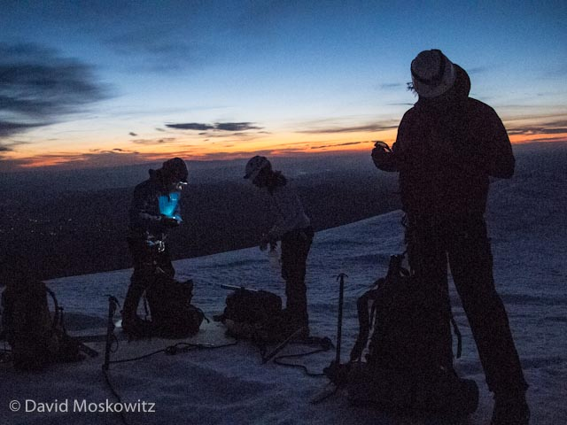 We left our camp at 2 am for our peak bid, arriving at the base of the steep terrain close to the summit just as the sun was about to rise