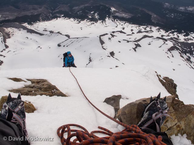 View from a belay close to the summit.
