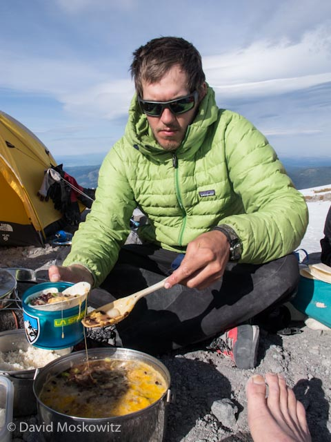 John Rudolph demonstrates one of Outward Bounds educational tenets–craftsmanship–in the fine meal he prepared for us at the end of our summit day. Nothing says excellence in alpine cooking like long strands of gooey melted cheese!