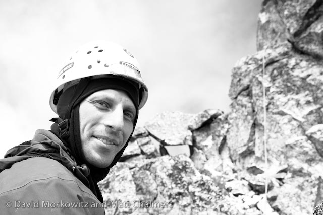 Myself at a belay ledge on Dorado Needle.
