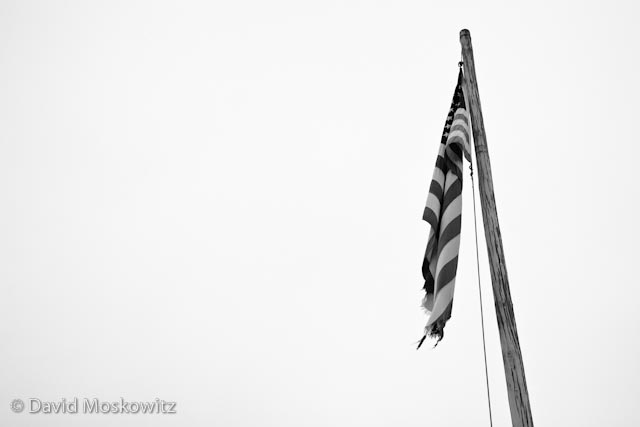 Tattered flag flying in the Conconully Cemetery