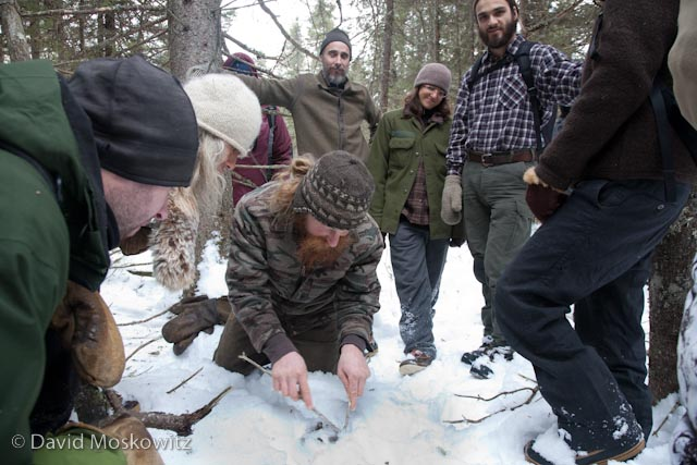 Participants in the Wolf Tracking Expedition inspect the scat left behind by a large fisher.