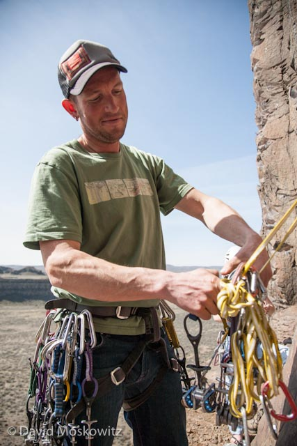 IFMGA certified Mountain guide Forest McBrian racks up for his next climb