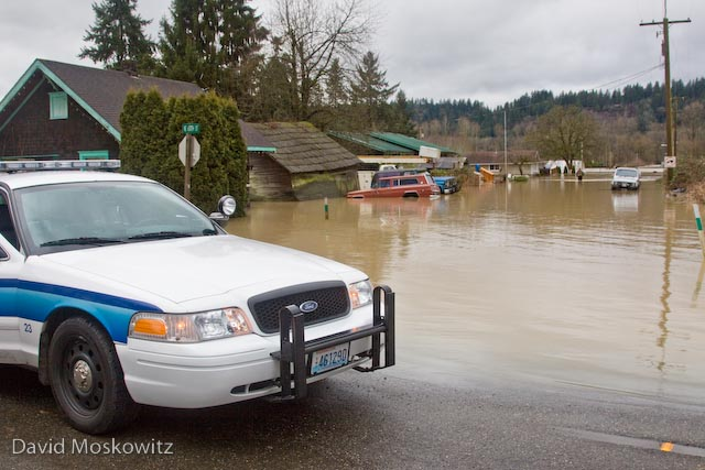 Flooded neighborhood in Carnation, WA.