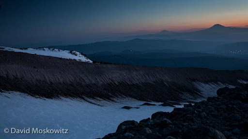 The silhouettes of Mount Adams and Mount Rainer at sunrise as seen from the northeast side of Mount Hood. Northwest Outward Bound runs courses in some of the most stunning and wild places in the Pacific Northwest including mountaineering courses in the Oregon and Washington Cascades. To sign up for courses visit  outwardbound.org .