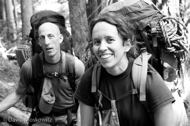 Samantha Goff and Matt Chalmers, filled with anticipation at the start of our trip into the Eldorado Peak high camp.