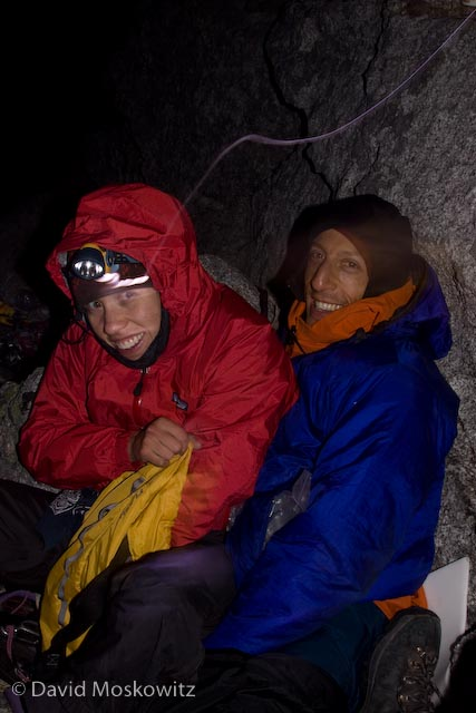 Happy faces after enduring an unplanned bivouac high on the west face.