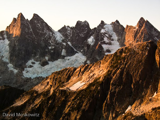 Southern Pickets from the north. Left to right: East McMillian Spire, West McMillian Spire, Inspiration Peak, Mount Dagenhart, Mount Terror