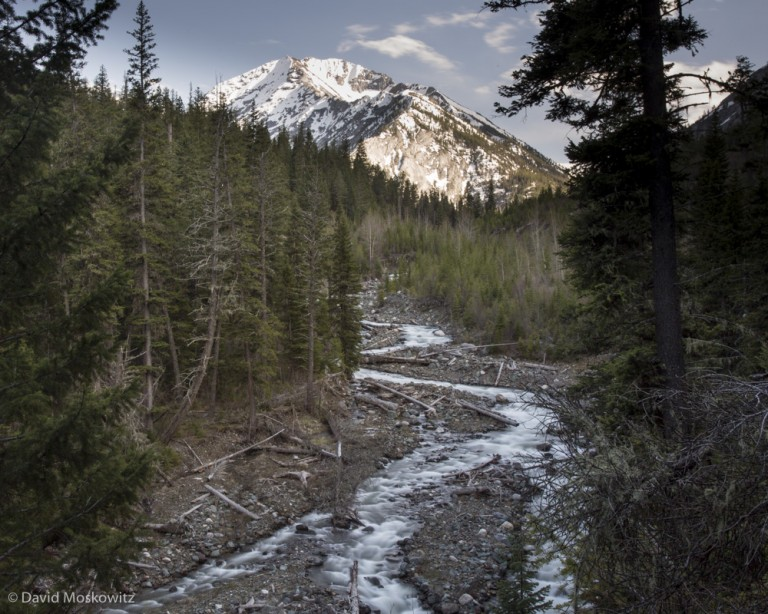 Huricanne creek and Sacajawea Peak in the Eagle Cap Wilderness, Wallawa Mountains, Oregon.