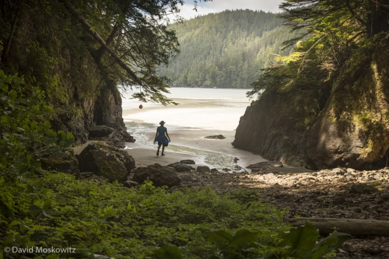 Exploring a remote beach in Cape Scott Provincial Park on the northern tip of Vancouver Island.