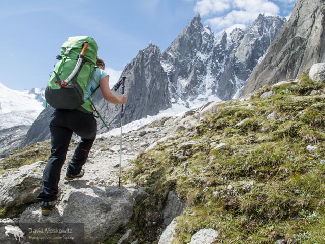 Erin Smart on the trail into the Envers Hut, situated above the Mere du Glace.