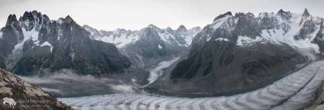 The Mere de Glace glacier flows down off of Mount Blanc and the surrounding peaks. While still miles long, the thickness of the glacier has shrunk dramatically over recent decades…an example of the shifting climate in the region.