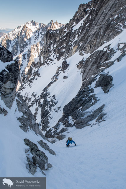 After we left camp at 5 am, unfortunately, my camera stayed tucked in my pack until high up on the route as we navigated three pitches of ice and the first two couloirs. After safely navigating into the third couloir, with all of the significant technical obstacles behind us I snapped a few shots. Here Cam ascends steep snow towards the bottom of the third couloir.