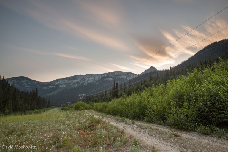 Linear features such as this road and power line corridor in the range of the Southern Selkirk herd, often act as routes for wolves, who hunt caribou, and humans, who's presence can displace caribou, to access mountain caribou habitat.