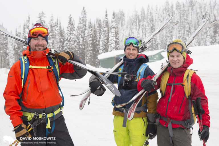 Three buddies from the eastern United States paused to chat with us at Kootenay Pass in the Southern Selkirks during their week-long backcountry ski vacation to the region.
