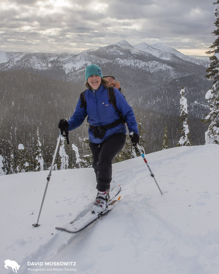 Outward Bound Instructor Judith Roberston of Nelson British Columbia on a backcountry ski tour in the southern Selkirk mountains.