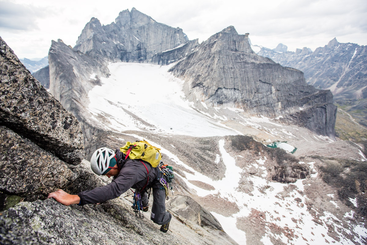 Drew Lovell climbing on the south ridge of Shot Tower in the Arrigetch Peaks region of the Brooks Range, Alaska.
