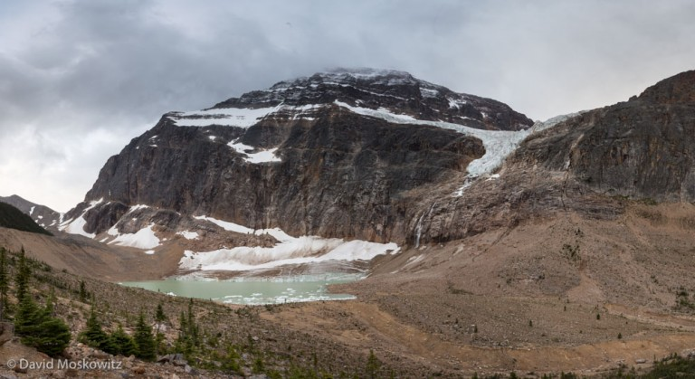 Mount Edith Cavell, a famous peak and glacier in Jasper National Park and area still occupied by caribou. Like mountain environments around the globe, the glaciers in the Canadian Rockies and Columbia mountains are retreating quickly. Most of the glaciers I observed while in the field had no accumulation zone anymore, leaving them as large blocks of ice melting in the warming climate.