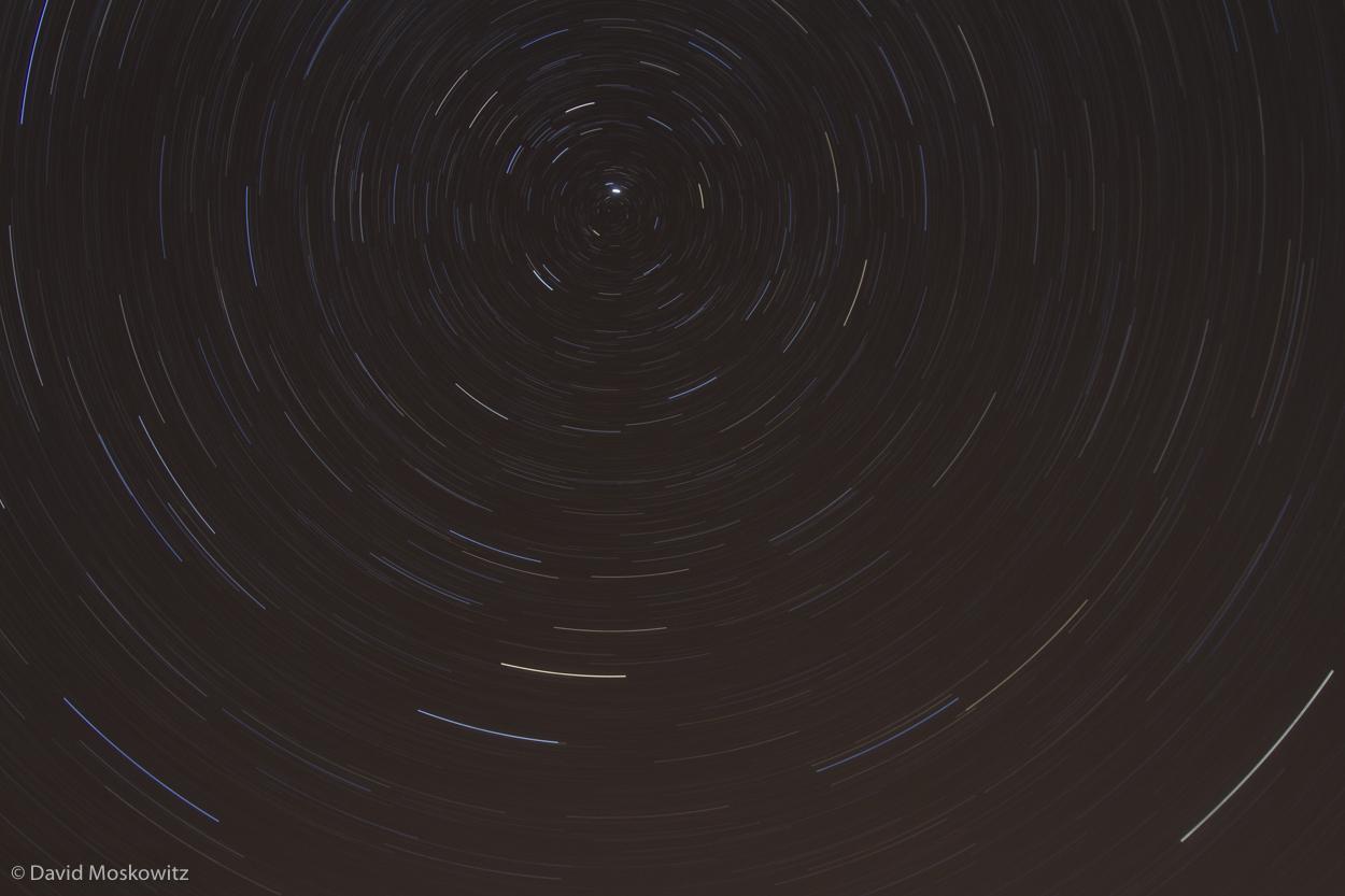 Stars circling around Polaris, the North Star.