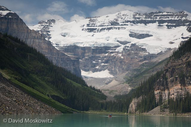 The massive peaks and glacier dwarf a canoe on Lake Louis, one of the most popular destinations in Banff National Park. Later in my trip I was joined by several family members who dealt admirably with my camera affliction, including here while on Lake Louis.