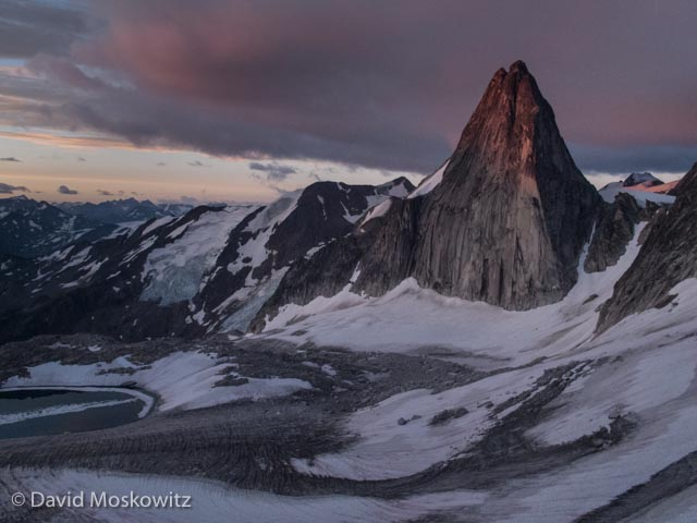 Sunrise on Snowpatch Spire, above the Crescent Glacier. Bugaboo Range.