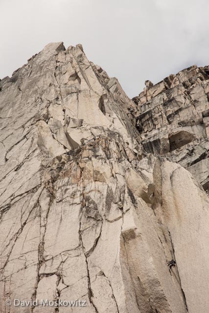 Climber on the second pitch of MacTech Arete (5.10b) on Crescent Spire, a beautiful line on a magnificent granite face.