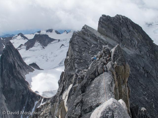 Second attempt was a success for Erin and I on Bugaboo Spire's northeast ridge (Grade IV, 5.8). Here Erin traverses from the north summit to the south summit for our descent down the south ridge of the mountain.