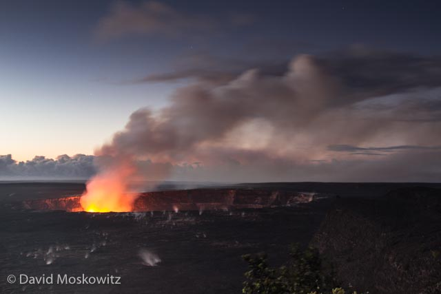 As the daylight grew stronger more of the moonscape surrounding the crater could be seen, the result of lava rising and pouring over the edges of the crater previously.