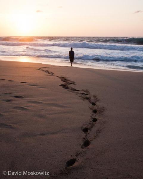 Sunset on Kalalau beach.