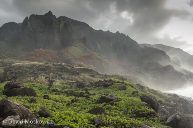 Evening light on the peaks and coastline. Napali Coast, Kauai