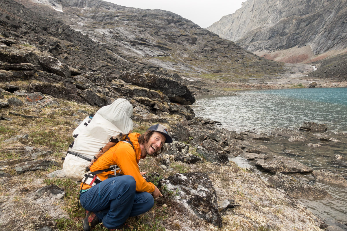 Mountaineer Forest McBrian points to the Long-tailed duck nest we discovered on the banks of an alpine tundra lake in the Brooks Range of Alaska.