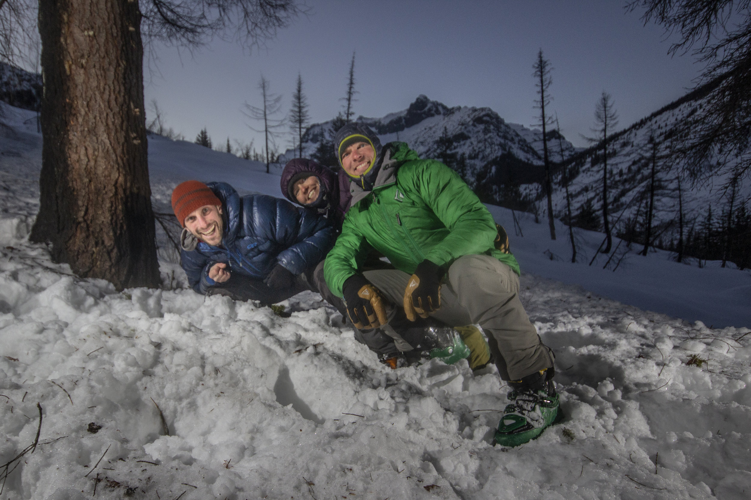 Steph Williams, Drew Lovell, and David Moskowitz captured on our camera trap right after we set it west of Lake Chelan in late January.