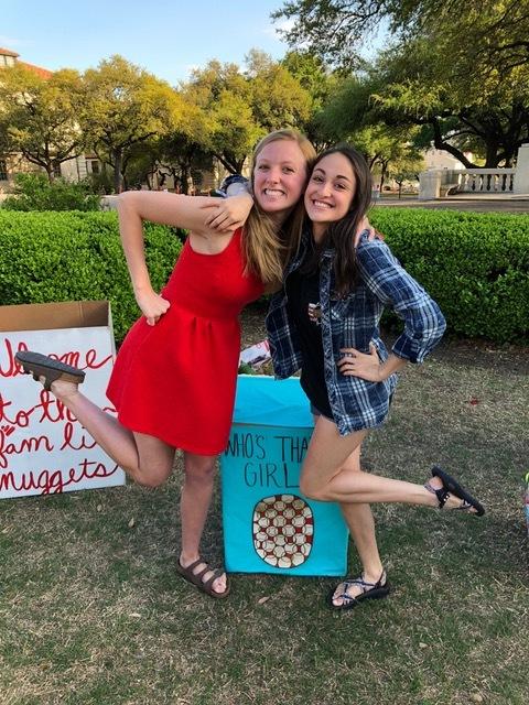 Natalie (left) and Laurel (right) during big little reveal Spring 2018.