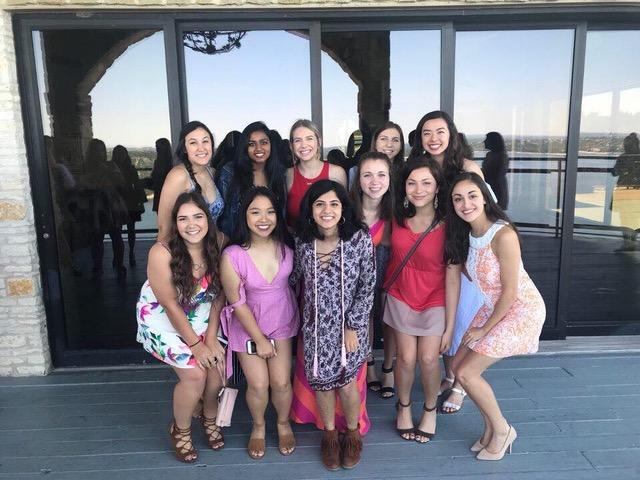 Left to Right: Kayla, Meg, Katie, Alexa, Ariana, Gabi, Lindsey, Myra, Becca, Catherine, Laurel  Formal Brunch Spring 2018
