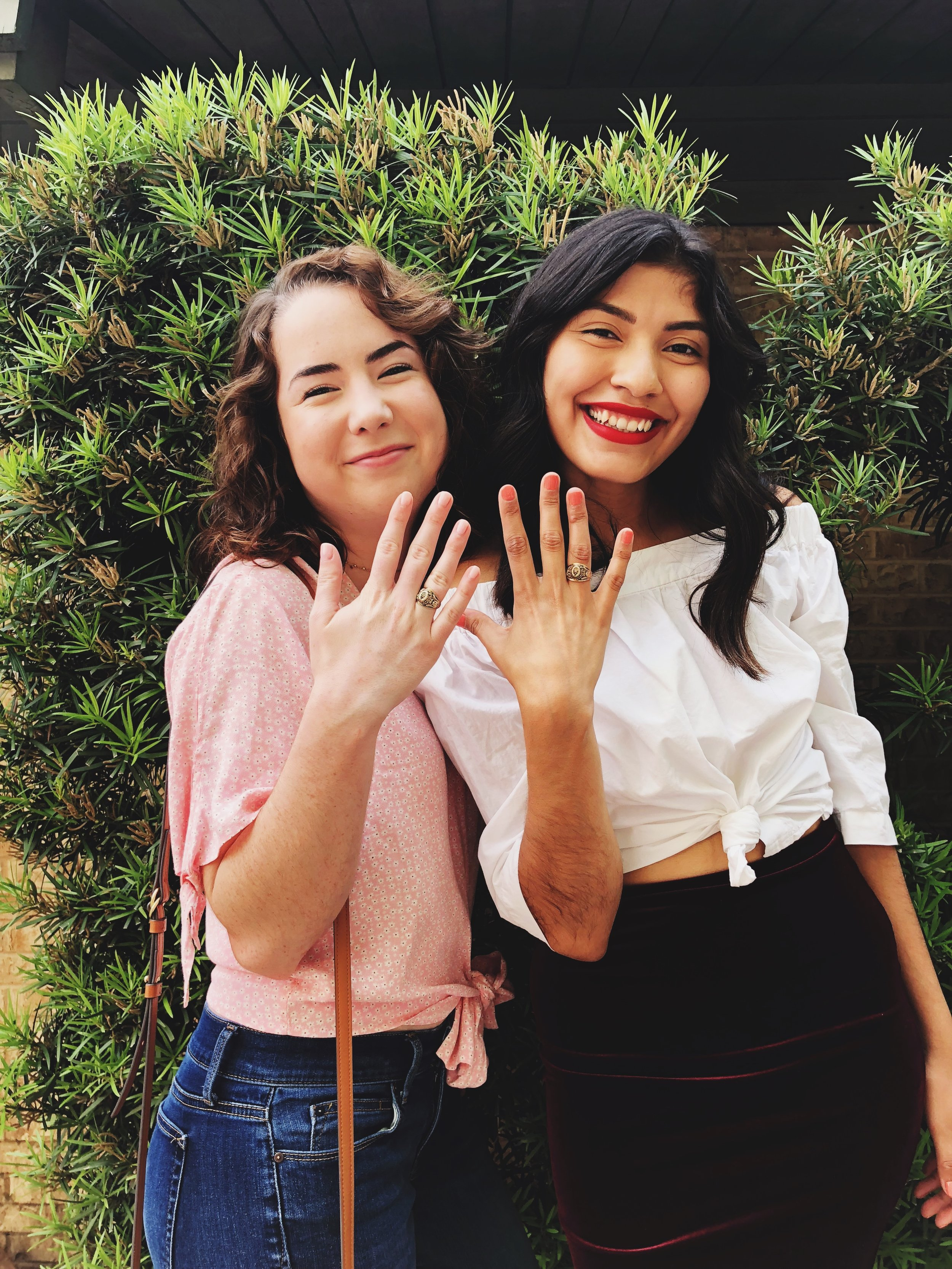 Mackenzie (left) and Jessica (right) at Jessica's ring ceremony Spring 2018.