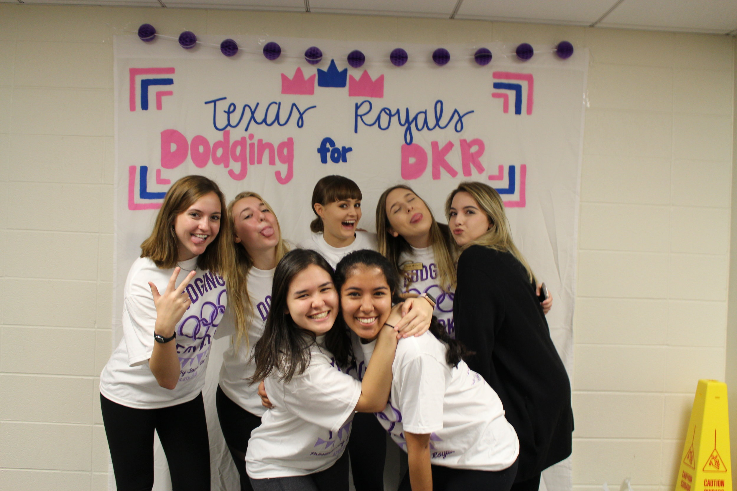 Hannah, Addison, Taylor, Olivia, Clare, Claire and Julianna during Spring 2018 Dodging for DKR.