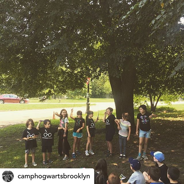 Posted @withrepost • @camphogwartsbrooklyn A few of our wizards and witches-in training presenting their own Defense Against the Dark Arts spells today- a competition for house points!! . . . . #wizardsintraining #summercamp #brooklynkids #prospectpark #summerinbrooklyn #hogwartscamp