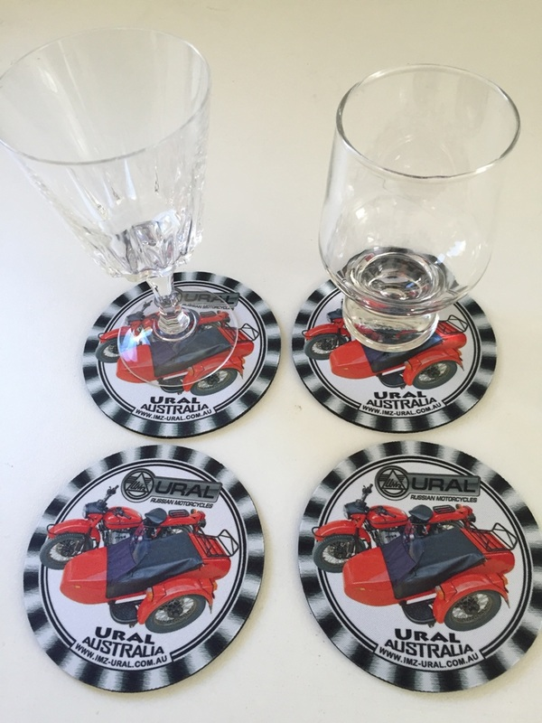 Drinks Coasters with Ural Sidecar and Logo - set of 4