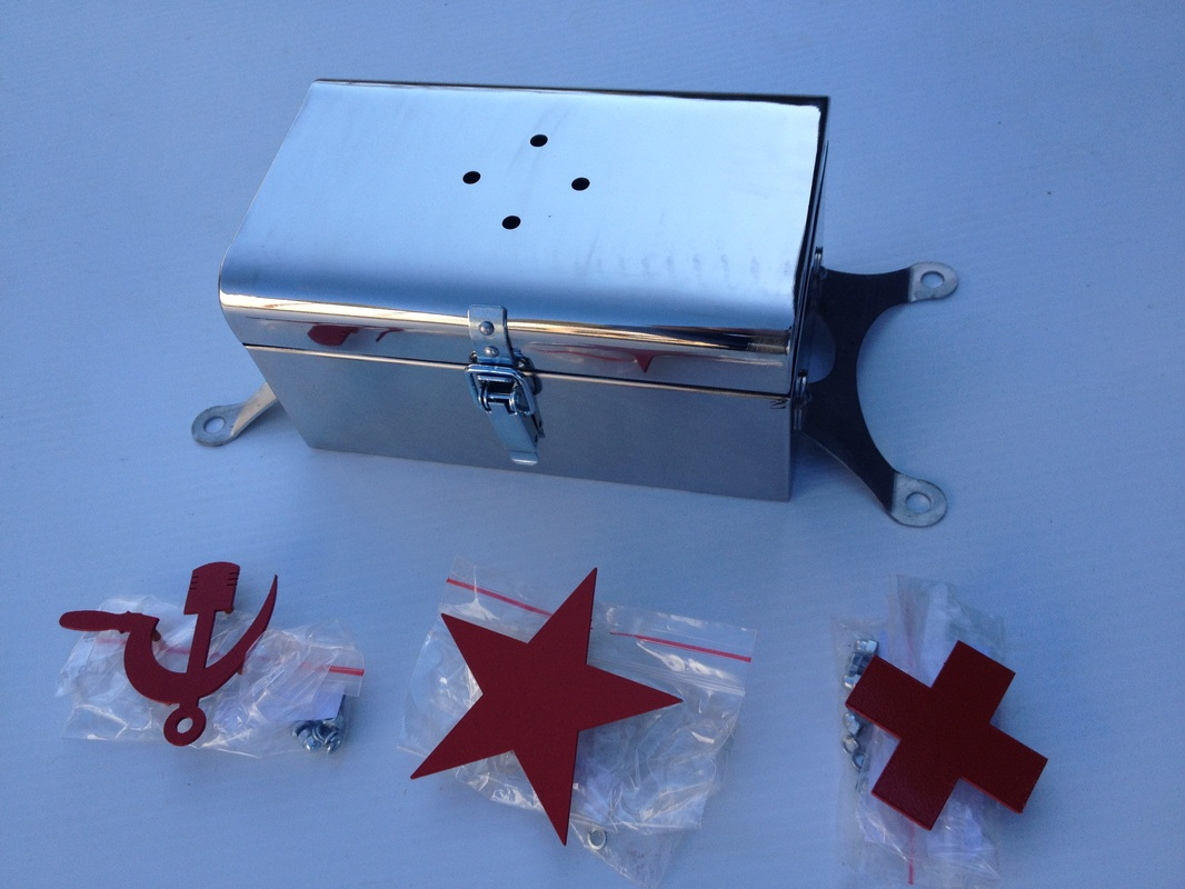 First Aid Box - available in Stainless Steel or Black, metal logs available in Piston and Sickle, Red Star or Red Cross