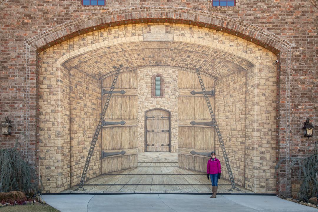 Hand-painted garage door at Milam Castle