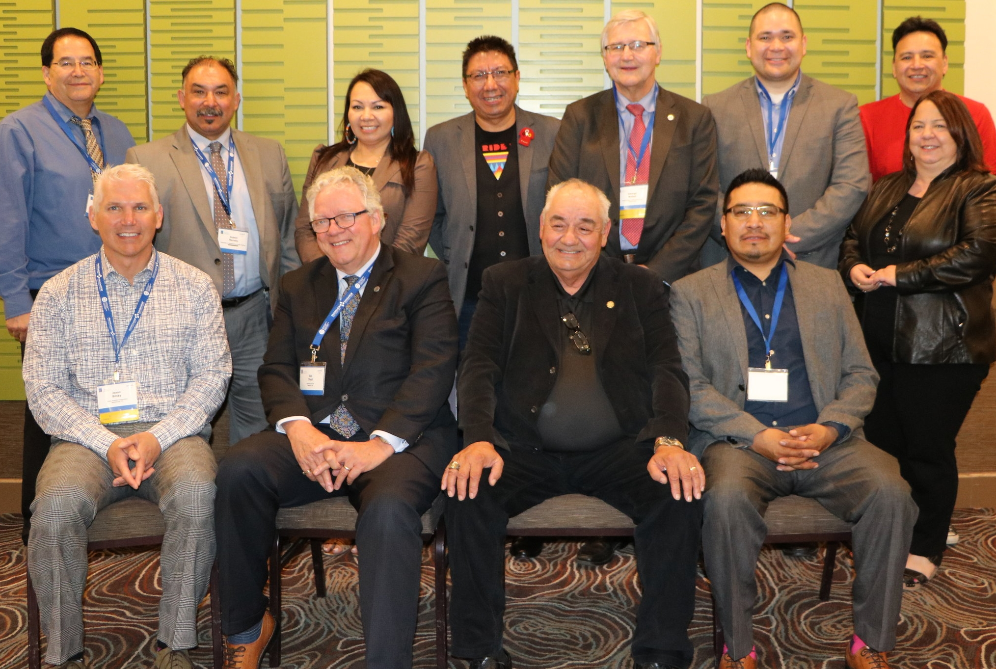 The Indigenous Health Alliance, led by Vice-Chief Robert Merasty (Federation of Sovereign Indigenous Nations), Grand Chief Sheila North (Manitoba Keewatinowi Okimakanak), Grand Chief Alvin Fiddler (Nishnawbe Aski Nation) with members of the HealthCareCAN Board at the 2016 Great Healthcare Debate.