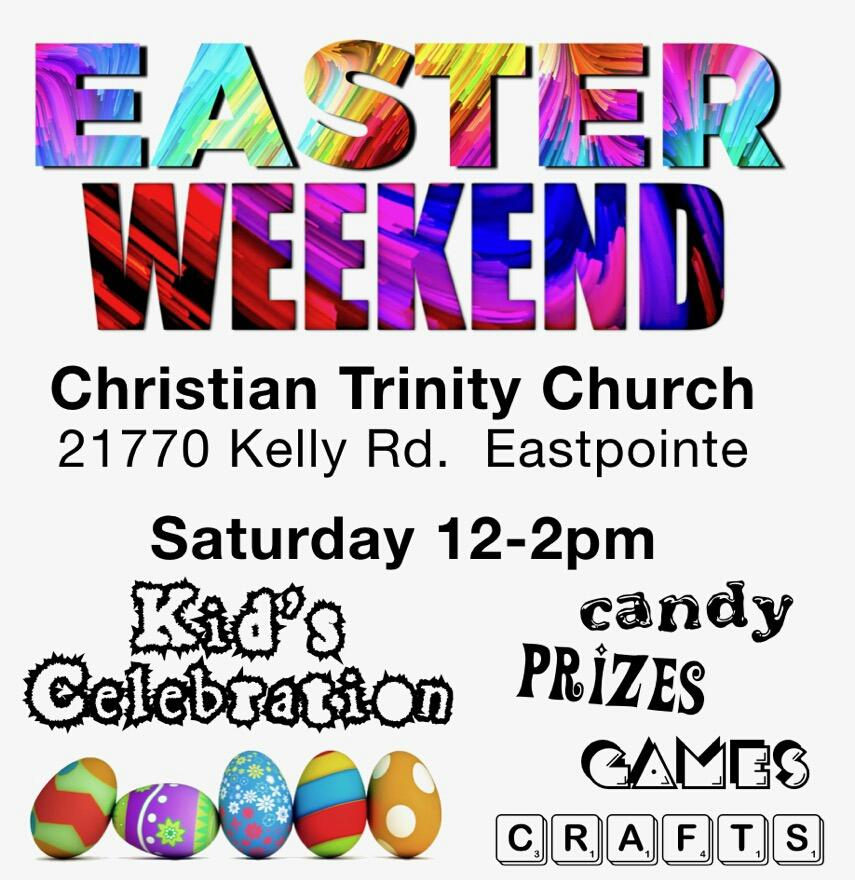 Saturday April 20th from 12 to 2 PM  there will be an indoor Easter celebration for children ages 4-11. Refreshments, games, prizes, crafts, candy and more will all be available! Come have some fun!