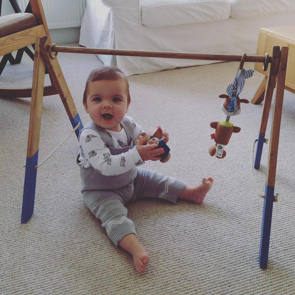 """Hi Tinkebu, just to say thanks for the baby gym, little Henry loves it and it is such good quality. Lovely finish on the paint too, would highly recommend to others. Cheers."""