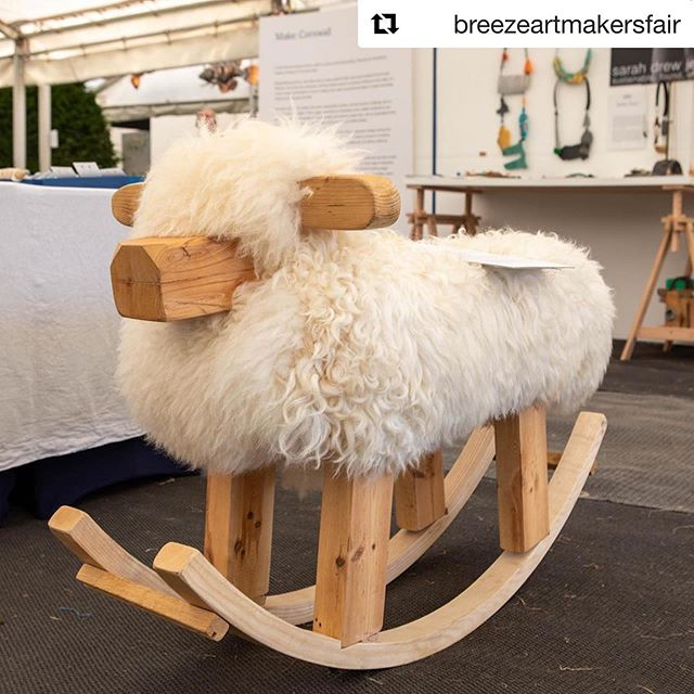 #Repost. Proud to have some of our work on display @breezeartmakersfair as part of the @makecornwallproject exhibition. If you're popping along say hi to our Giant Rocker-Sheep 🐑. Our friends @dartmoorshepherd have lots of other sizes on display too! ・・・ Day 2 OPENING TODAY AT 10am -5pm £7.50 online #breezefair19 #beatbreeze #craftsposure #design #rockinghorse #sheep #madeincornwall #wastewood