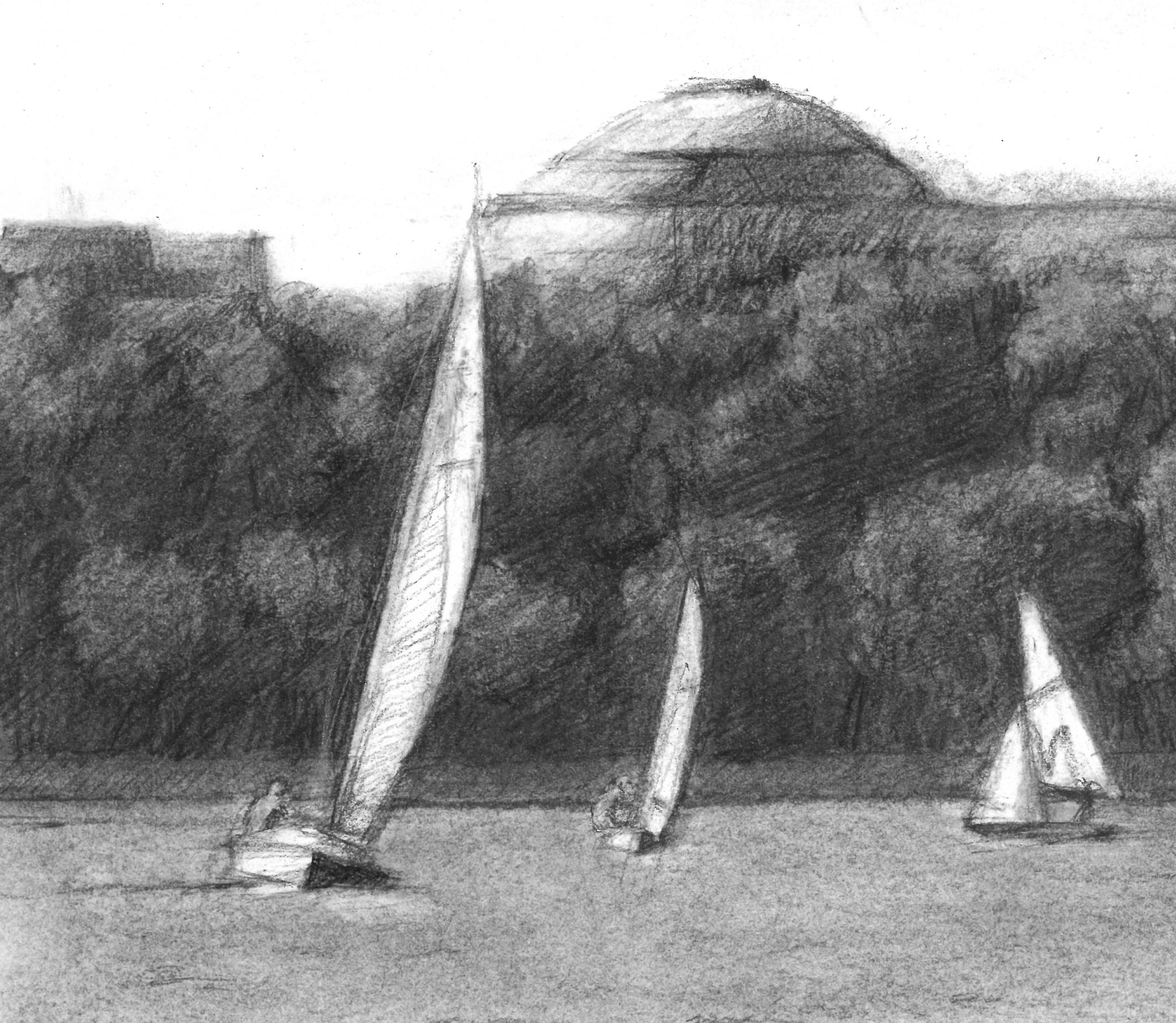 View of MIT from Boston  |   charcoal on paper