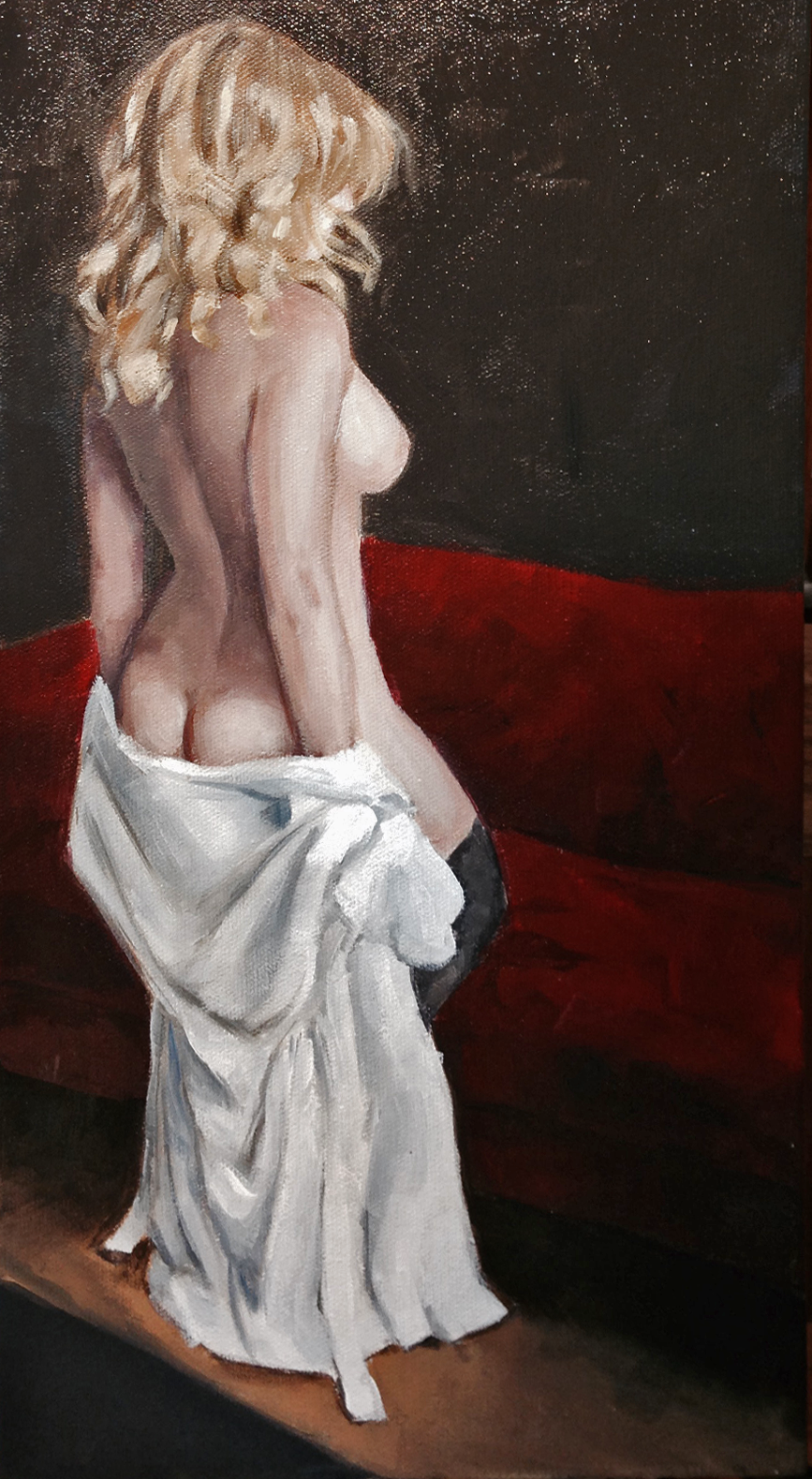 "White Rober, Red Couch |   10"" x 8"" 